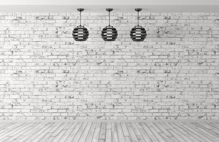 レンガの壁、木の床、3 つのランプの 3 d レンダリング インテリア バック グラウンド ルーム
