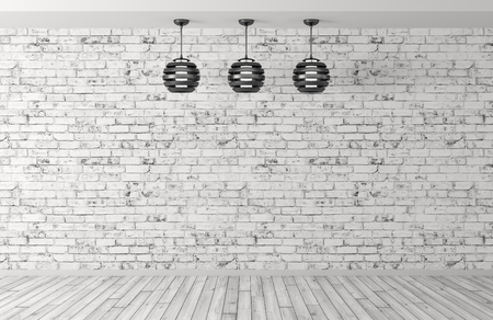 Interior background room with brick wall, wooden floor and three lamps 3d rendering