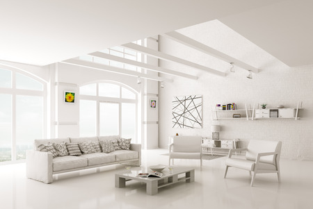 ソファとアームチェアの 3 d レンダリングと白のモダンなリビング ルーム インテリア
