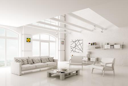 Bianco interni moderni soggiorno con divano e poltrone rendering 3D Archivio Fotografico