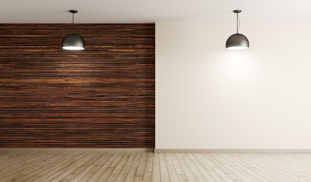 Empty interior background, room with brown wood paneling wall and hardwood flooring, two lamps 3d rendering Foto de archivo