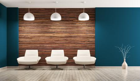 Modern interior del salotto con poltrone rendering 3d Archivio Fotografico - 56856656