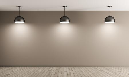 Trzy czarne metalowe lampy ponad beżowym ścian wewnętrznych tła 3d renderowania