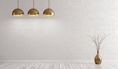 Empty interior background, room with metal brass lamps over white brick wall 3d rendering