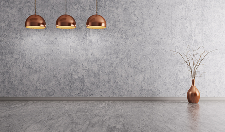 Copper lamps over concrete wall room interior background 3d rendering