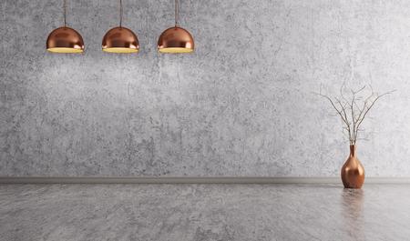Lampy miedziane ponad betonu pokojowej ścian wewnętrznych tle 3d renderowania