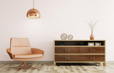 entre moderno de la sala de estar con cómoda de madera, sillón reclinable y una lámpara de representación 3D