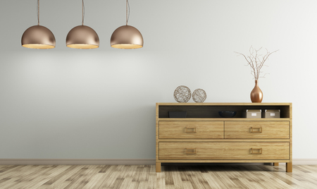 Modern interior of living room with wooden dresser and lamps 3d rendering Foto de archivo