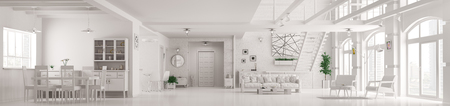 Modern white loft apartment interior, living room, hall, staircase, panorama 3d render
