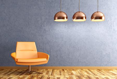 Modern interieur van woonkamer met oranje leunstoel en koperen lampen over blauwe muur 3D rendering