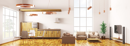 Panorama of modern loft apartment interior, living room, kitchen, dining room 3d rendering