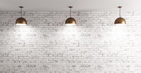グランジのれんが造りの壁の部屋で 3 つの真鍮のランプ間背景 3 d のレンダリング 写真素材