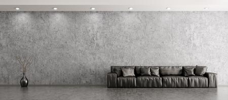 黒革のソファとコンクリート壁パノラマ 3 d レンダリングの花瓶を投げつけるとリビング ルームのモダンなインテリア
