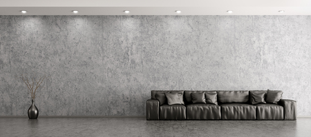 Modern interior of living room with black leather sofa and vase against of concrete wall panorama 3d rendering 스톡 콘텐츠