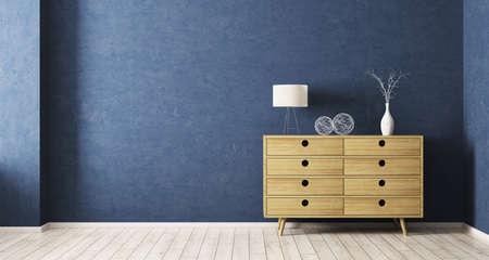 木製キャビネット 3 d レンダリングとリビング ルームのモダンなインテリア