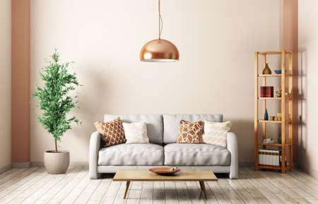 グレーのソファ、ランプ、棚、3 d レンダリングのコーヒー テーブルのあるリビング ルームのモダンなインテリア