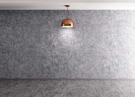 セメント コンクリート壁、床およびランプの 3 d レンダリングで部屋のインテリアの背景