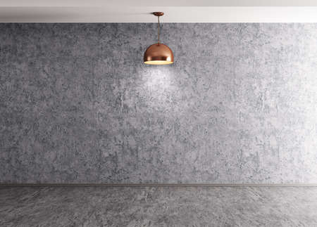 Interior background of room with concrete cement wall, floor and lamp 3d rendering Zdjęcie Seryjne