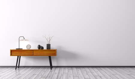 白い壁の 3 d レンダリング上木製サイド テーブル付きのリビング ルームのインテリアの背景