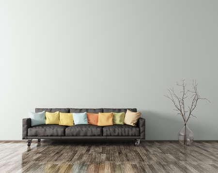 Modern interieur van woonkamer met witte sofa levendige kussens en