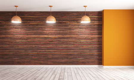 Empty interior background, room with brown wood paneling wall and orange corner, three lamps 3d rendering