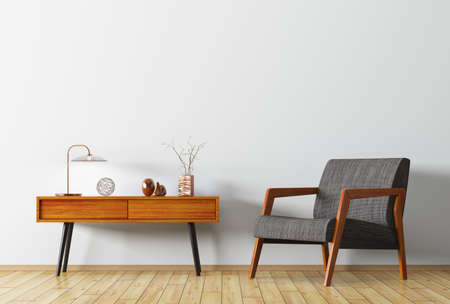 Wnętrze tło z pokoju dziennego z drewnianym stoliku i fotel renderingu 3d Zdjęcie Seryjne