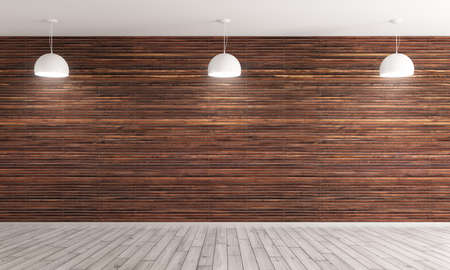 Empty interior background, room with brown wood paneling wall and hardwood flooring, three white lamps 3d rendering Foto de archivo