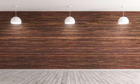 Sfondo interni Vuoto, soggiorno con parete pannelli di legno marrone e pavimenti in legno, tre lampade bianche rendering 3D Archivio Fotografico - 65047955