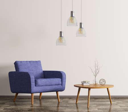 木製のコーヒー テーブルと青い肘掛け椅子 3 d レンダリングのリビング ルームのインテリア