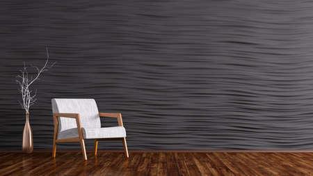 Interno del soggiorno con poltrona bianca, pavimento in legno, muro nero pannellatura rendering 3D