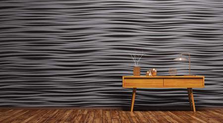 Interior Hintergrund des Wohnzimmer mit Holztisch auf schwarzem Verkleidung Wand 3d render