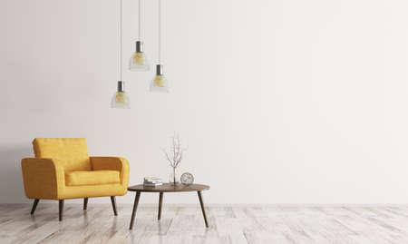 Interno di soggiorno con tavolo in legno di forma triangolare da caffè, lampade e poltrona gialla rendering 3D Archivio Fotografico