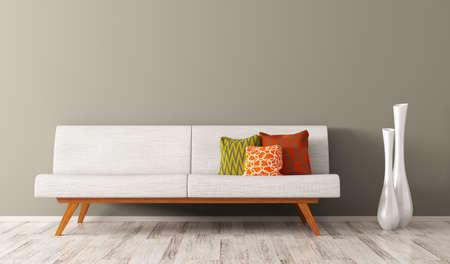 Modern interieur van woonkamer met witte sofa, levendige kussens en twee vazen 3D-rendering