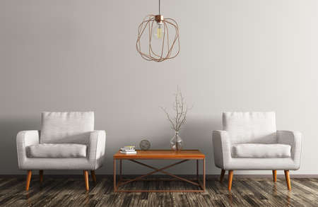 Interior of living room with coffee table, white armchairs and copper lamp 3d rendering