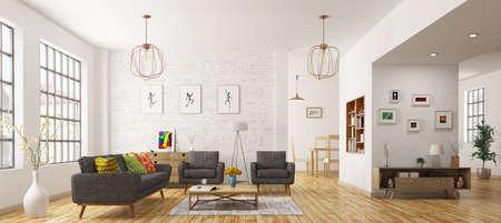 Interior moderno de la sala de estar, estilo escandinavo representación 3D Foto de archivo - 65048256