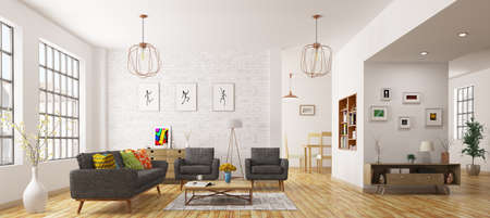 Modern interior of living room, scandinavian style 3d rendering Stok Fotoğraf