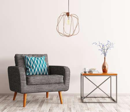 灰色のコーヒー テーブル、肘掛け椅子およびランプの 3 d レンダリングとリビング ルームのインテリア 写真素材
