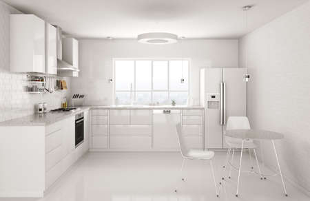Modern white kitchen, window,table and chairs interior 3d rendering