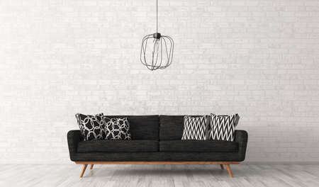 Modern interior of living room with black sofa and lamp against of white brick wall 3d rendering