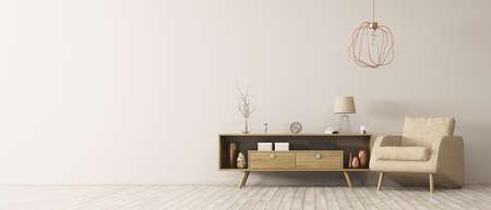 木製キャビネット アームチェア パノラマ 3 d レンダリングとリビング ルームのモダンなインテリア