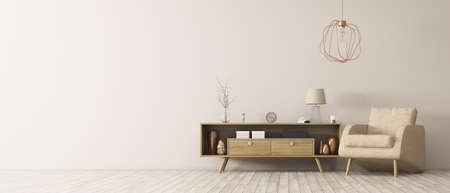 Modern interior of living room with wooden cabinet and armchair panorama 3d rendering Stok Fotoğraf