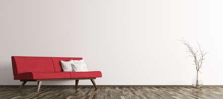 赤いソファとリビングと支店パノラマ 3 d レンダリングと花瓶のモダンなインテリア