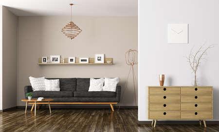 Intérieur moderne de salon avec canapé noir et commode de rendu 3D