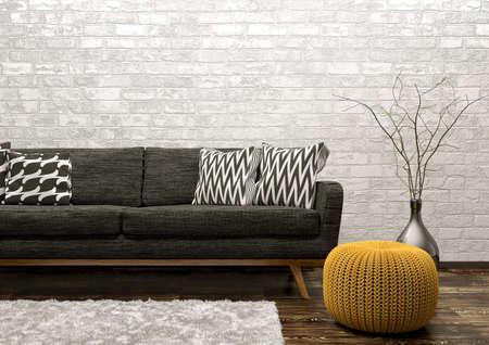 黒いソファ、敷物白レンガ壁 3 d レンダリングにスツールとリビング ルームのモダンなインテリア