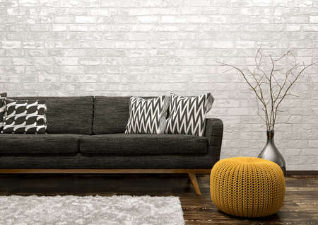 Modern interior of living room with black sofa, rug and knitted pouf over white brick wall 3d rendering 스톡 콘텐츠