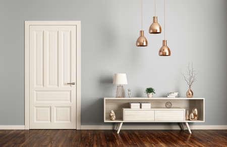 Interior moderno de la sala de estar con puerta y aparador representación 3D Foto de archivo - 64467932