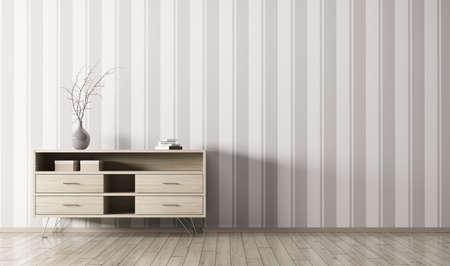 ストライプ壁紙壁 3 d レンダリングを木製のチェストとリビング ルームのモダンなインテリア