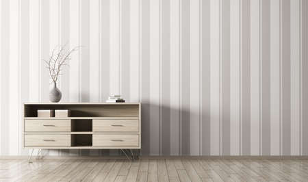 Modern interior of living room with wooden chest of drawers over striped wallpaper wall 3d rendering Stok Fotoğraf