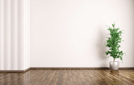 Empty room interior background with plant 3d rendering Banco de Imagens