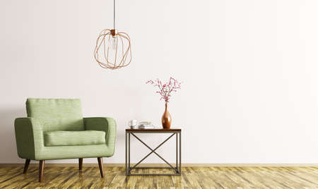 Interior of living room with coffee table, green armchair and lamp 3d rendering Foto de archivo